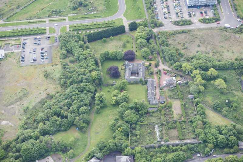 Oblique aerial view of Caroline Park House, looking S.