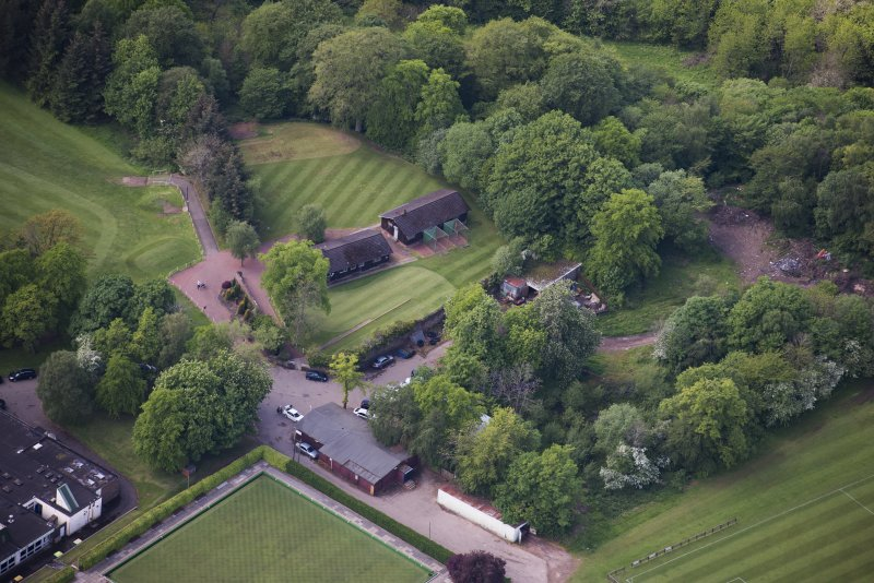 Oblique aerial view of Jerviston House, looking WSW.