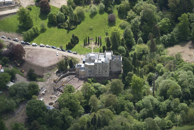Oblique aerial view of Crossbasket Country House, looking SSE.