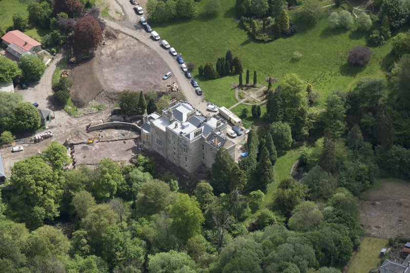 Oblique aerial view of Crossbasket Country House, looking ESE.