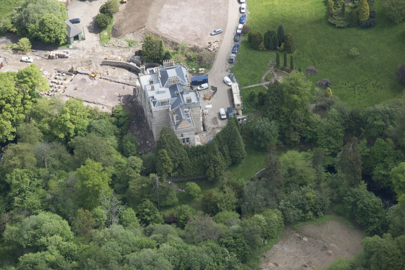Oblique aerial view of Crossbasket Country House, looking E.