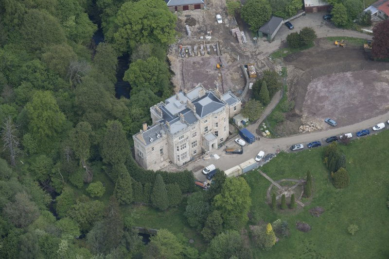 Oblique aerial view of Crossbasket Country House, looking NE.