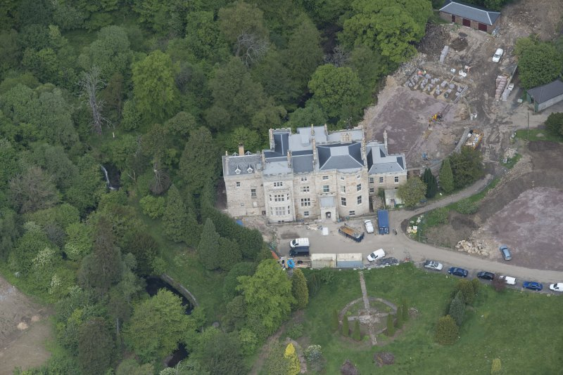 Oblique aerial view of Crossbasket Country House, looking N.