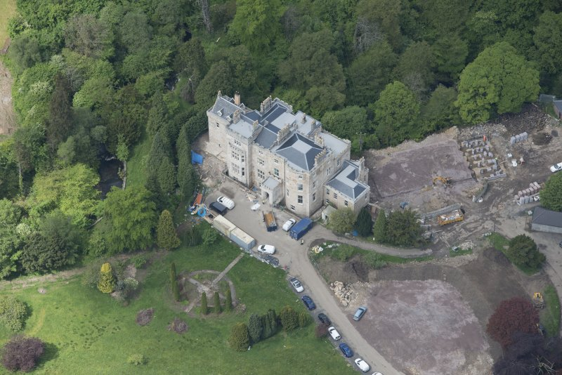 Oblique aerial view of Crossbasket Country House, looking NW.
