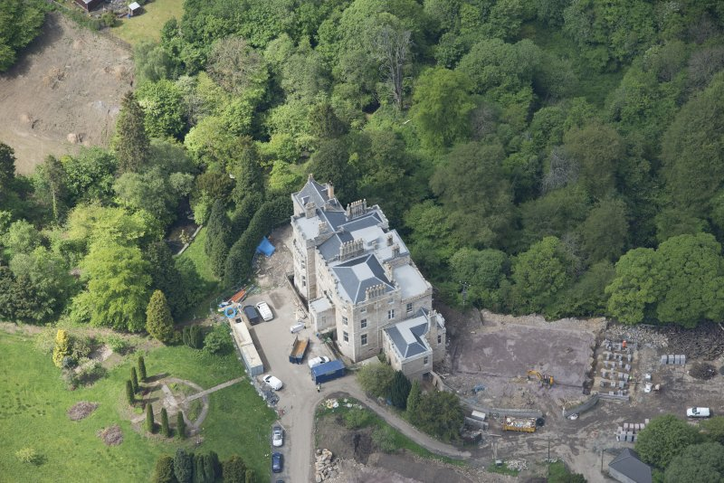 Oblique aerial view of Crossbasket Country House, looking W.
