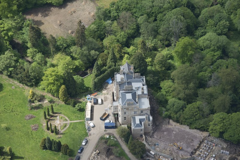 Oblique aerial view of Crossbasket Country House, looking WSW.