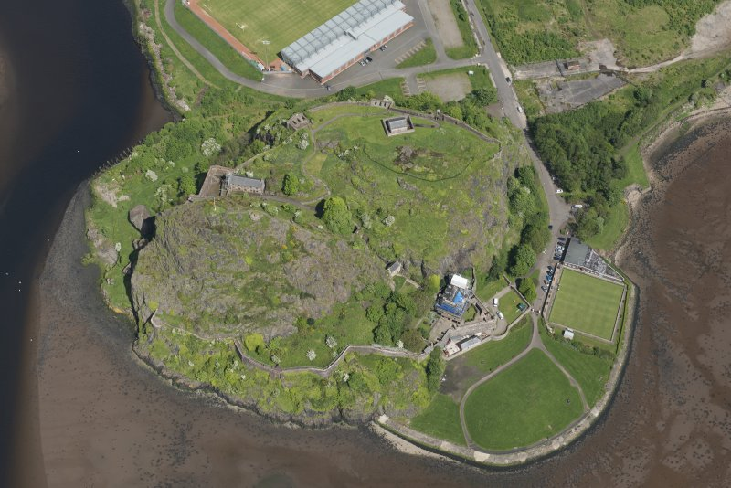 Oblique aerial view of Dumbarton Castle, looking NE.