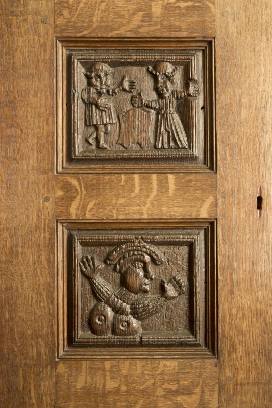 Charter room. Detail of carved wooden panels.