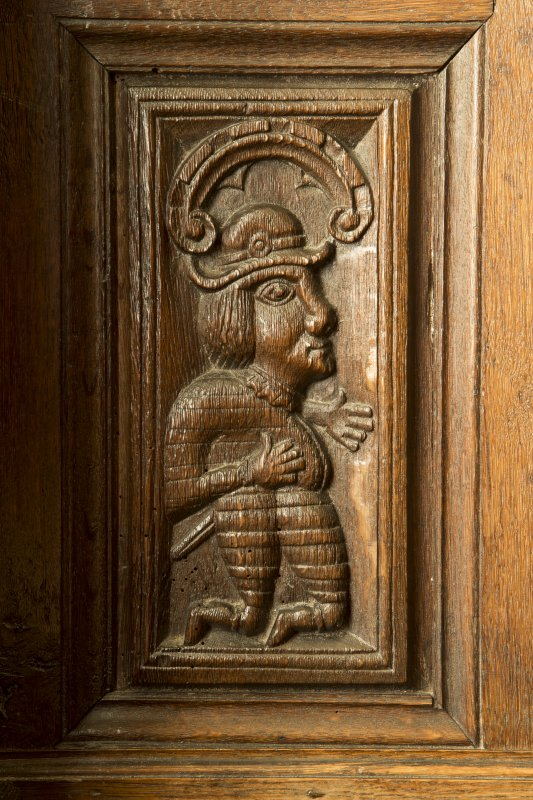Charter room. Detail of carved wooden panel.