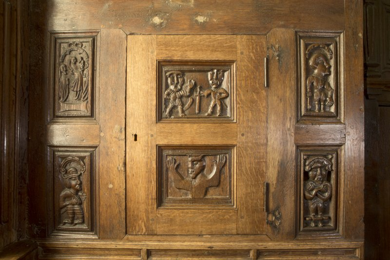 Charter room. View of carved wooden panels.