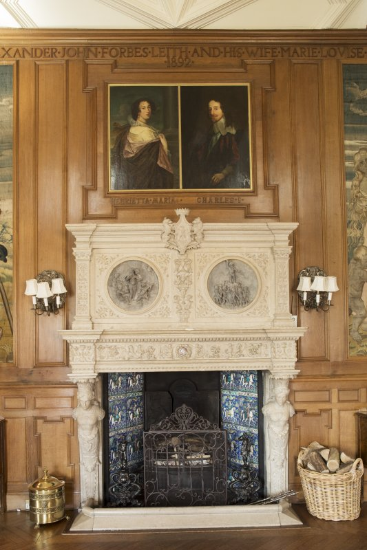 Gallery. View of fireplace.