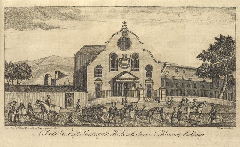 Opposite page 27:	Fold-out view of the Canongate Church and neighbouring buildings, insc: 'A South View of the Canongate Kirk with some Neighbouring buildings  The Hon.ble John Elphinstone Esq. Engineer delin  Parr sculpt'. RARE BOOK NO 30: THE HISTORY OF EDINBURGH, HUGO ARNOT