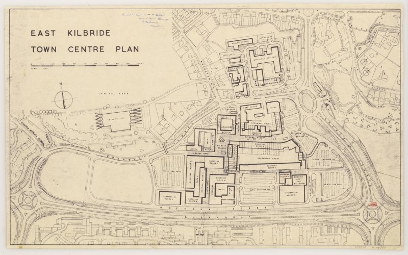 Master development plans of East Kilbride, including plan of potential sites for swimming pool.  Layout plans of town centre and site plan.  Sketch plans and elevations.