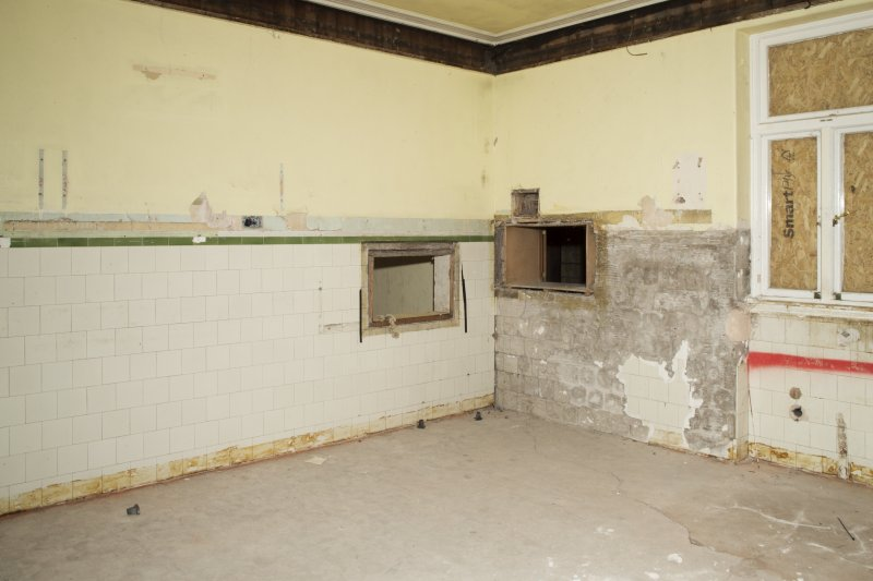 General view of kitchen to serving hatches..