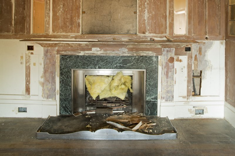 Detail of fireplace in drawing room.