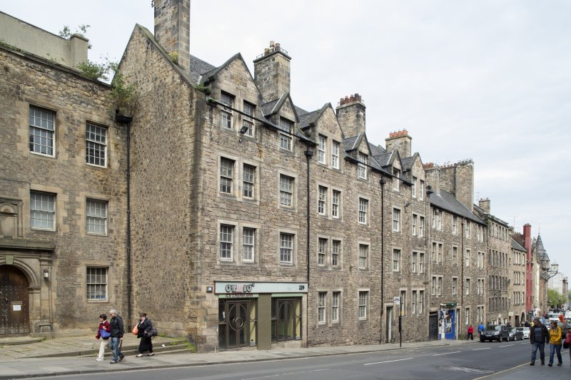General view of 221-229 Canongate, Big Jack's Close, Edinburgh, from SW.