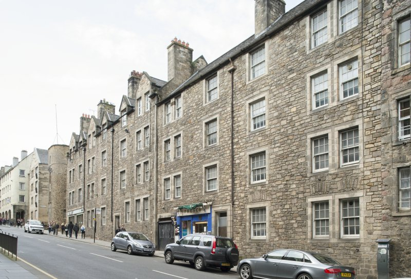 General view of 221-229 Canongate, Big Jack's Close, Edinburgh,from SE.