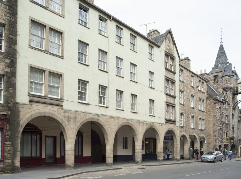 View of arcaded entrance at 173-183 Canongate, Edinburgh, from SW.