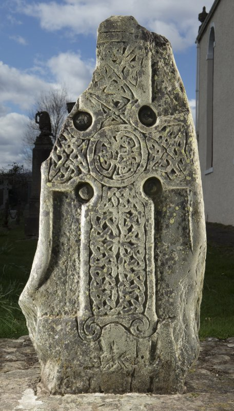 View of slab with carved cross (flash)