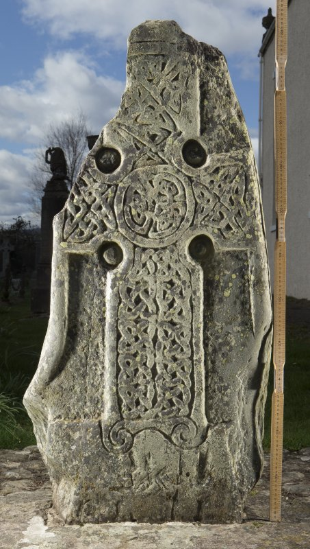 View of slab with carved cross (flash including scale0