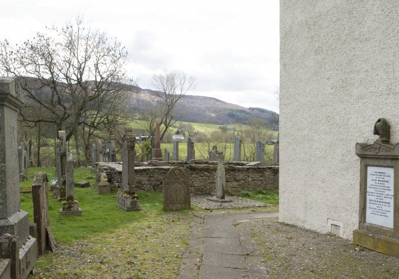 View showing location of cross slab within graveyard