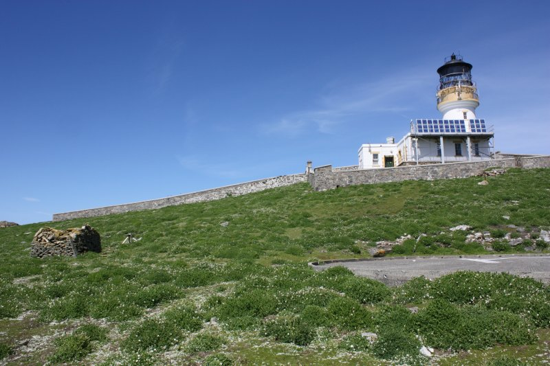 General view of the chapel, lighthouse and helipad, facing north.