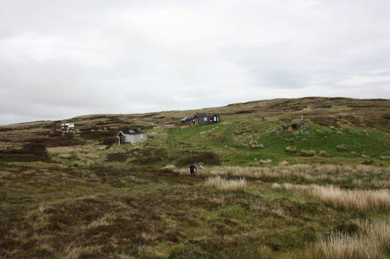 View of roofed and unroofed huts at Airigh A'Bhealaich, looking N.