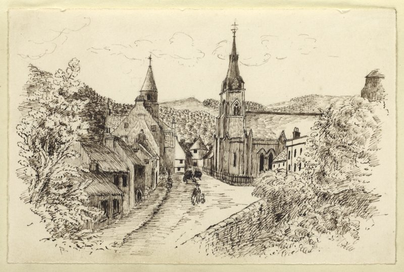Sketch of the High Street, Falkland with Falkland Parish Church to the right.