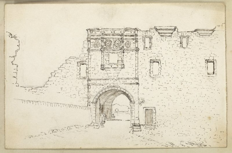 Sketch of the entrance to St Andrews Castle.