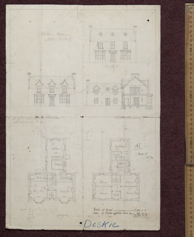 Copy of plan of Dwelling house, Deskie, Glenlivat