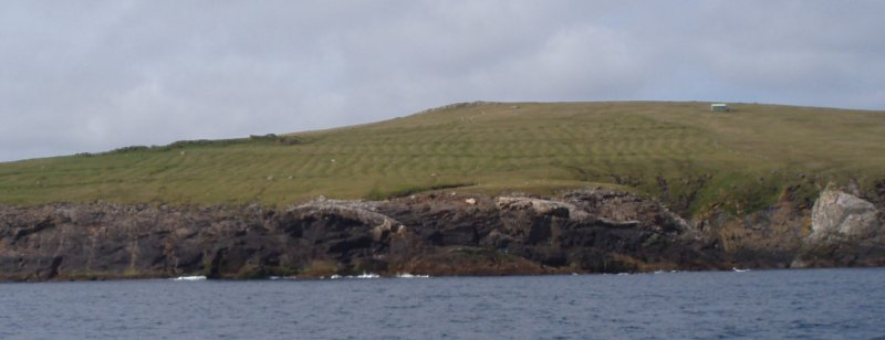 St Ronan's Church, township and SMRU hut from sea, 2011.