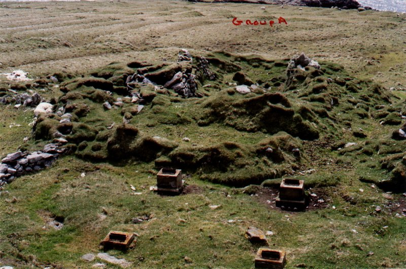 North Rona, township group A and foundations of old SMRU hut. 10 May 2005.