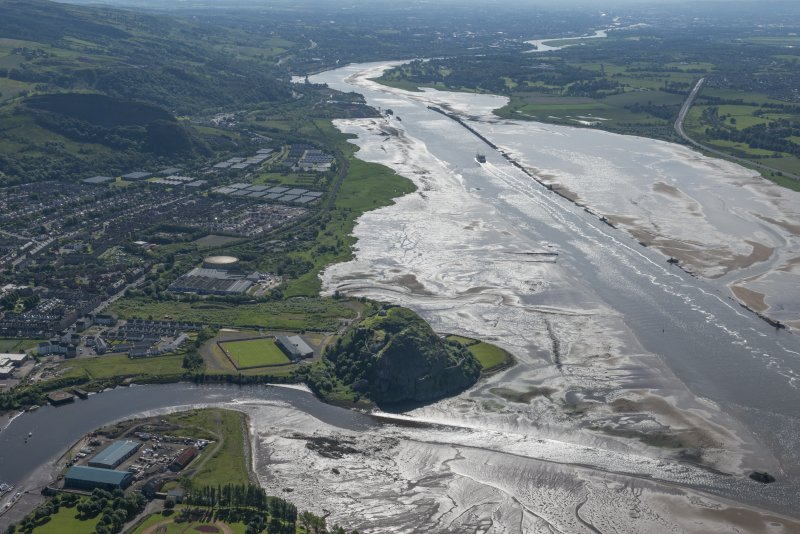 General oblique aerial view of The River Clyde, with Strathclyde Homes Stadium and Dumbarton castle in the foreground, looking ESE.
