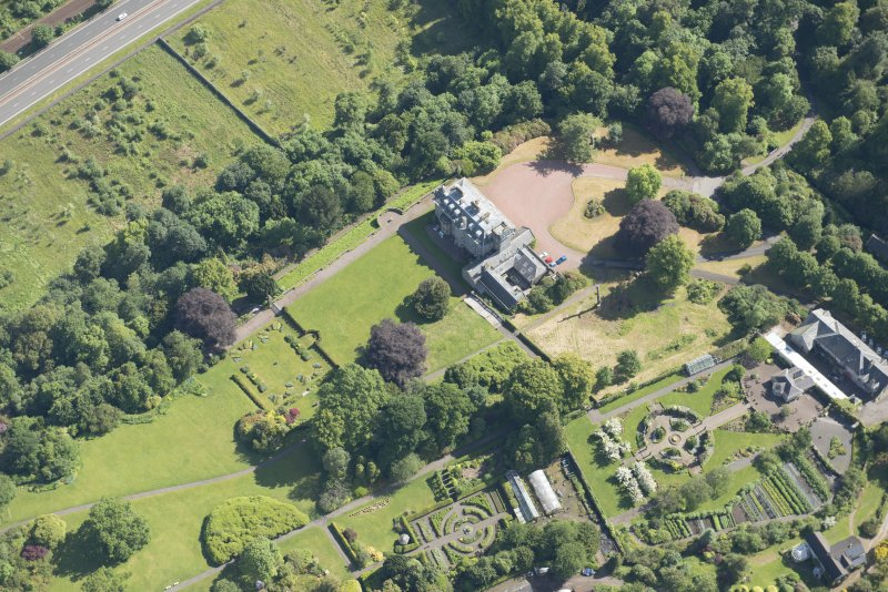 Oblique aerial view of Finlaystone House, looking NE.