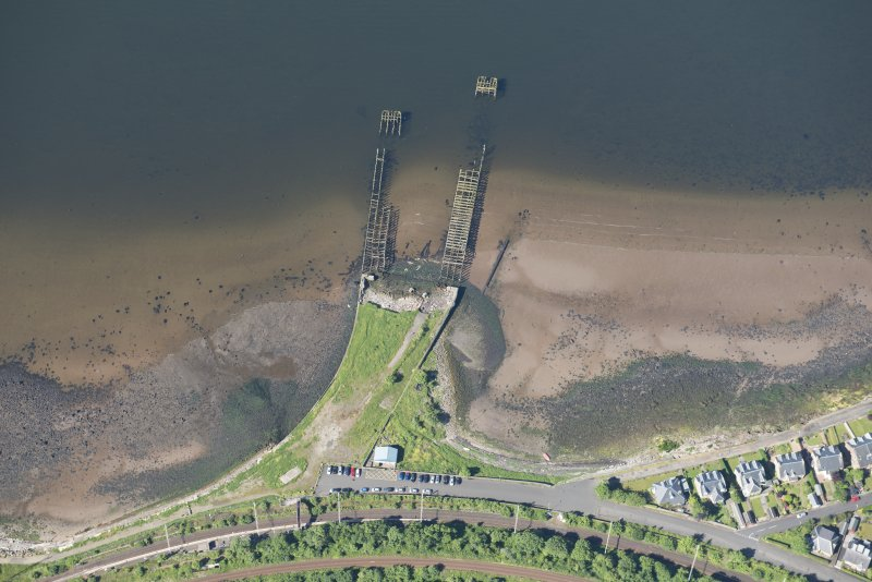 Oblique aerial view of the pier at Craigendoran, looking WSW.