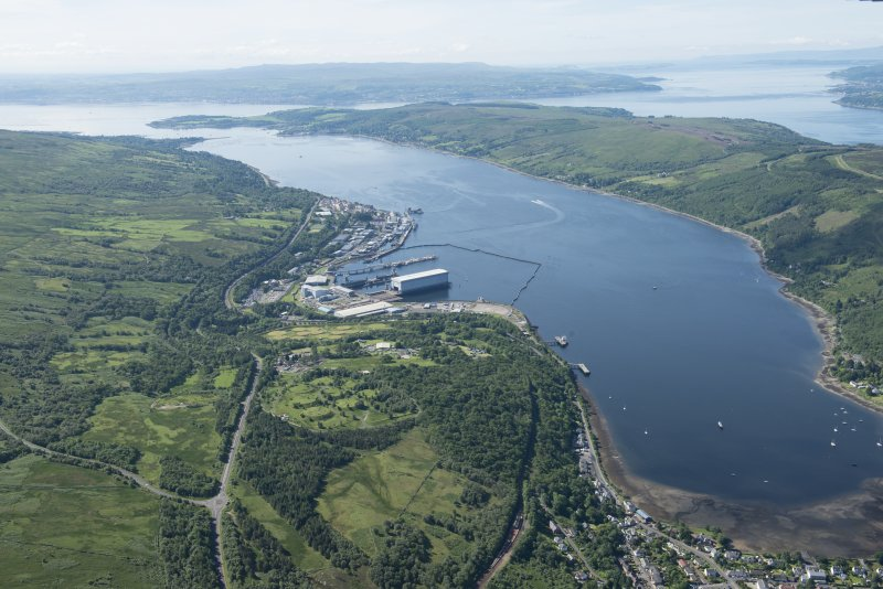 General oblique aerial view of the Clyde Submarine Base, Faslane, looking SW.