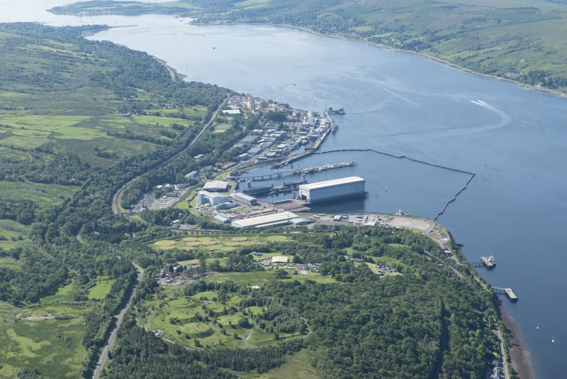 Oblique aerial view of the Clyde Submarine Base, Faslane, looking SW.