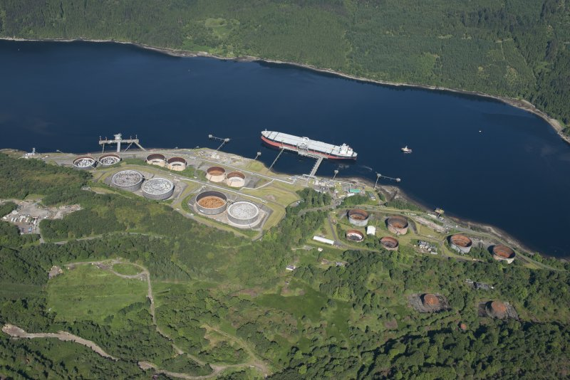 Oblique aerial view of the Finnart Oil Terminal, looking WNW.