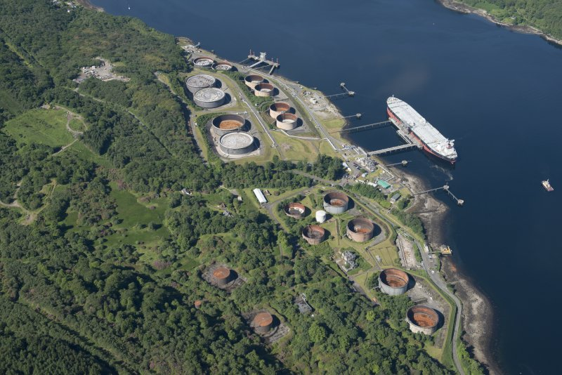 Oblique aerial view of the Finnart Oil Terminal, looking WSW.