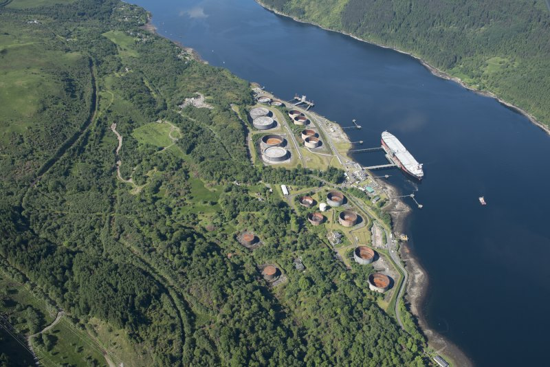 Oblique aerial view of the Finnart Oil Terminal, looking SW.
