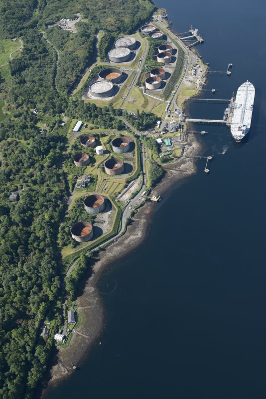 Oblique aerial view of the Finnart Oil Terminal, looking SSW.
