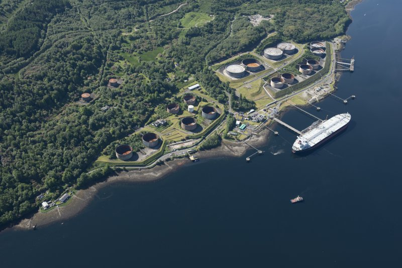 Oblique aerial view of the Finnart Oil Terminal, looking SSE.
