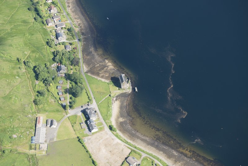 Oblique aerial view of Carrick Castle, looking NNE.