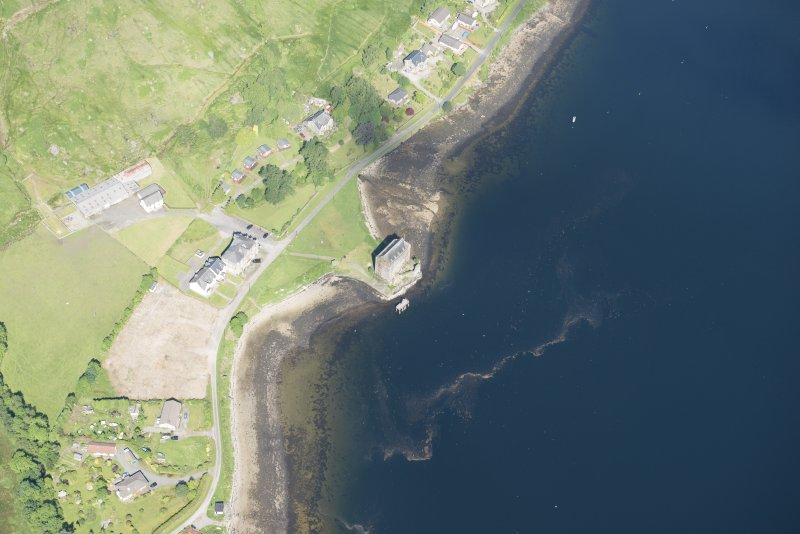 Oblique aerial view of Carrick Castle, looking NW.