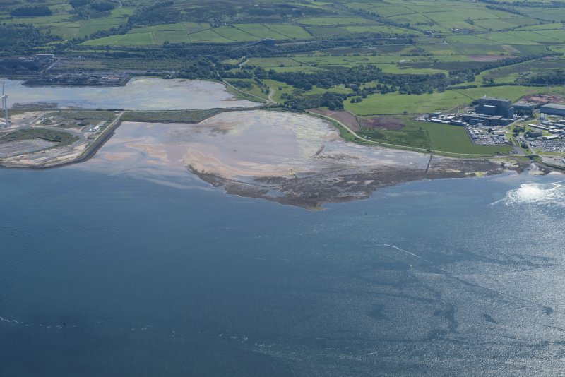 Oblique aerial view of Brigurd Point Harbour and fish trap at Hunterston Sands, looking E.