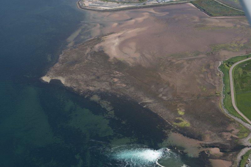 Oblique aerial view of Brigurd Point Harbour and fish trap at Hunterston Sands, looking NNE.