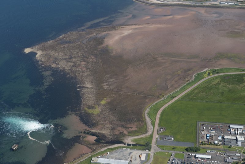 Oblique aerial view of Brigurd Point Harbour and fish trap at Hunterston Sands, looking N.