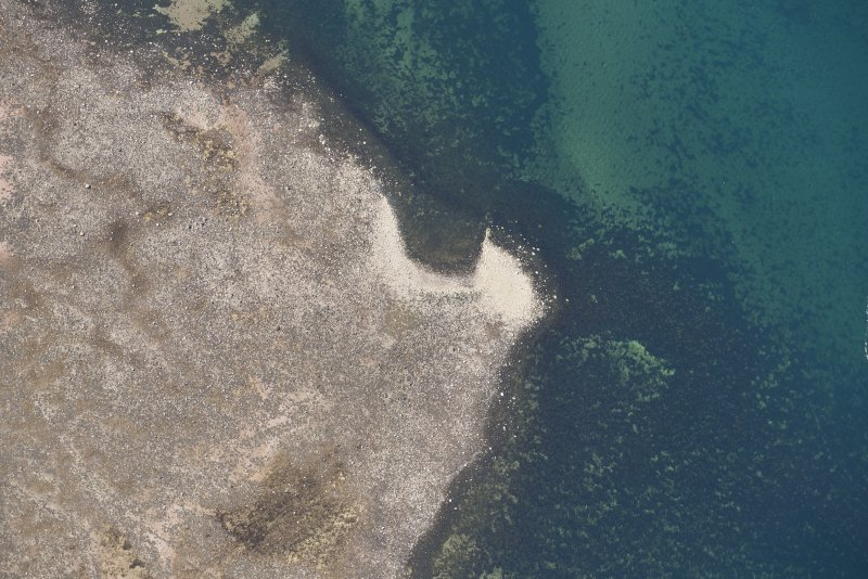 Oblique aerial view of Brigurd Point Harbour at Hunterston Sands, looking SSW.