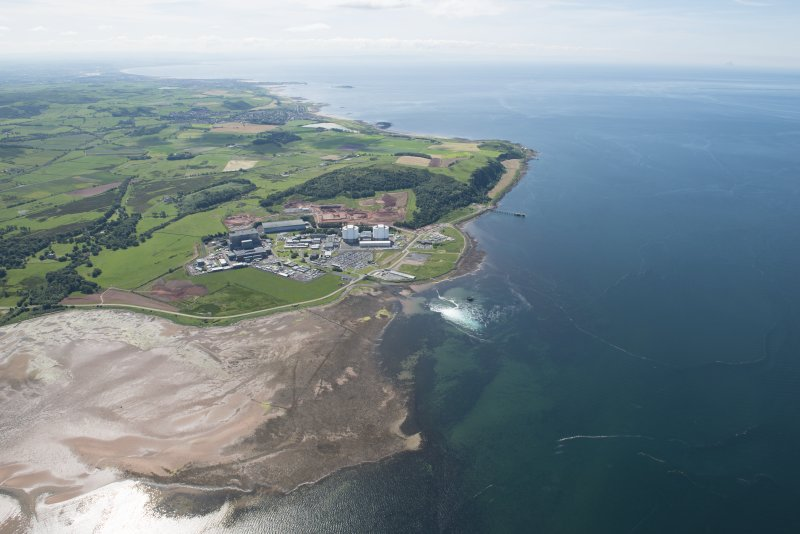 General oblique aerial view of Hunterston Nuclear Power Station, looking S.