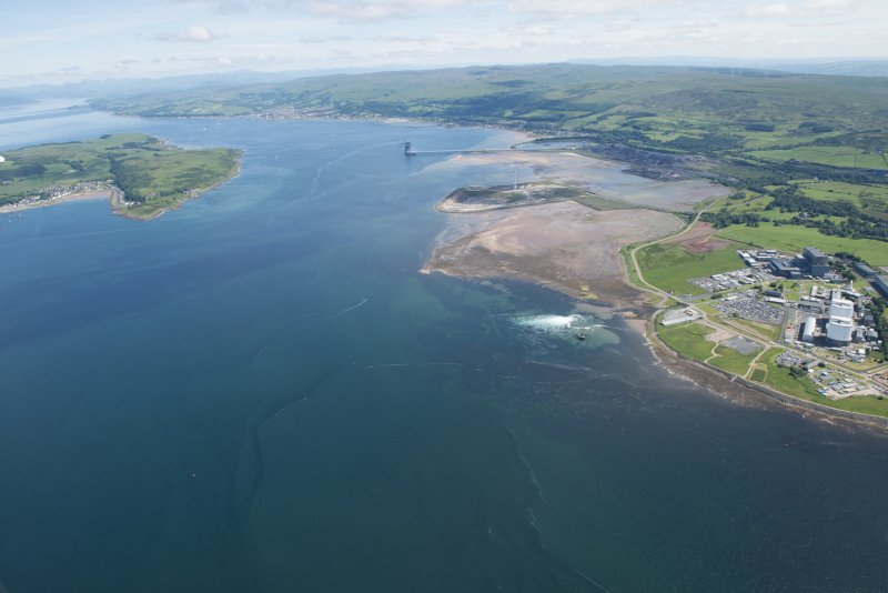General oblique aerial view of Hunterston Nuclear Power Station and Ore Terminal, looking NNE.